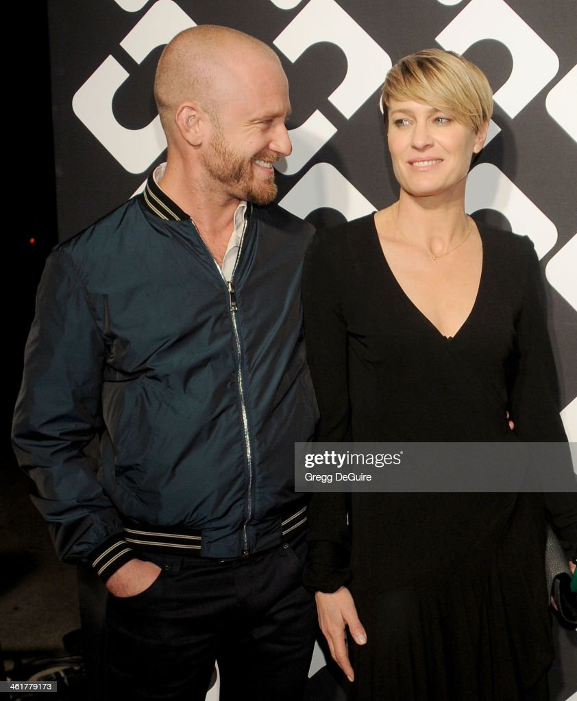 Actors Ben Foster and <a gi-track='captionPersonalityLinkClicked' href=/galleries/search?phrase=Robin+Wright&family=editorial&specificpeople=207147 ng-click='$event.stopPropagation()'>Robin Wright</a> arrive at Diane Von Furstenberg's 'Journey Of A Dress' premiere opening party at Wilshire May Company Building on January 10, 2014 in Los Angeles, California.