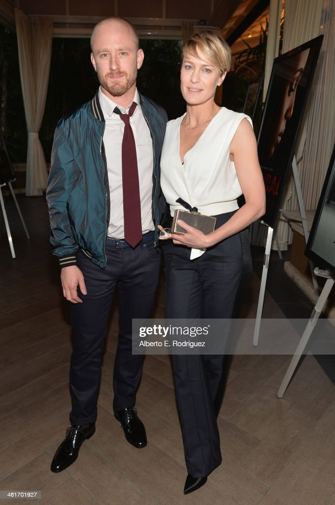 Actors <a gi-track='captionPersonalityLinkClicked' href=/galleries/search?phrase=Ben+Foster+-+Actor&family=editorial&specificpeople=4180592 ng-click='$event.stopPropagation()'>Ben Foster</a> and <a gi-track='captionPersonalityLinkClicked' href=/galleries/search?phrase=Robin+Wright&family=editorial&specificpeople=207147 ng-click='$event.stopPropagation()'>Robin Wright</a> attend the 14th annual AFI Awards Luncheon at the Four Seasons Hotel Beverly Hills on January 10, 2014 in Beverly Hills, California.