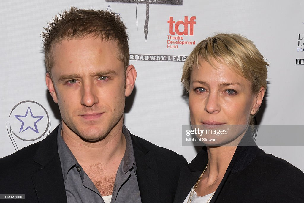Actors Ben Foster (L) and <a gi-track='captionPersonalityLinkClicked' href=/galleries/search?phrase=Robin+Wright&family=editorial&specificpeople=207147 ng-click='$event.stopPropagation()'>Robin Wright</a> attend the 2013 Lucille Lortel Awards at Jack H. Skirball Center for the Performing Arts on May 5, 2013 in New York City.