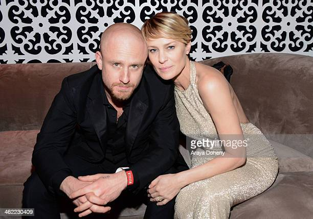 Actors Ben Foster and Robin Wright attend The Weinstein Company Netflix's 2014 Golden Globes After Party presented by Bombardier FIJI Water Lexus...
