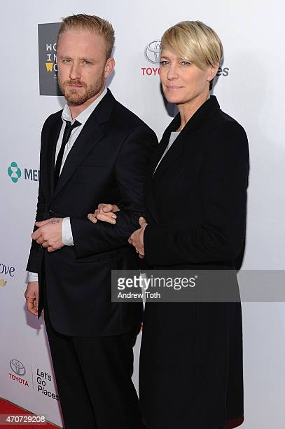 Actors Ben Foster and Robin Wright attend the Women In World Summit held in New York on April 22 2015 in New York City