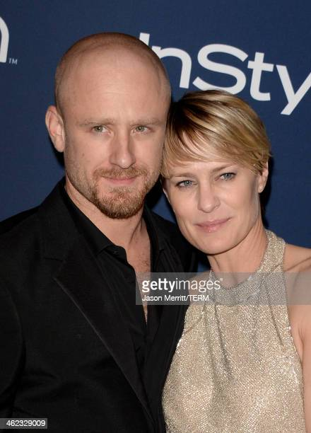 Actors Ben Foster and Robin Wright winner of Best Actress in a Television Series Drama for 'House of Cards' attend the 2014 InStyle and Warner Bros...
