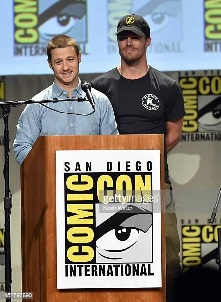 Actors Ben McKenzie and Stephen Amell attend Warner Bros Television DC Entertainment world premiere presentation during ComicCon International 2014...