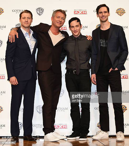 Actors Ben McKenzie Sean Pertwee Robin Lord Taylor and Cory Michael Smith attend the press conference for 'Gotham' at The RitzCarlton Tokyo on June...