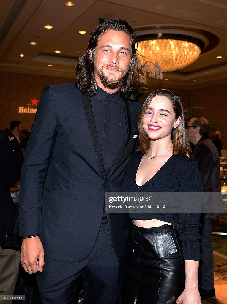Actors Ben Robson (L) and Emilia Clarke attend the BAFTA Los Angeles Awards Season Tea at Four Seasons Hotel Los Angeles at Beverly Hills on January 9, 2016 in Los Angeles, California.