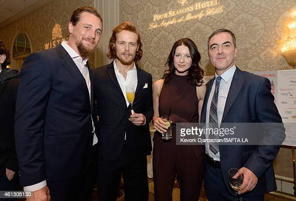 Actors Ben Robson Sam Heughan Caitriona Balfe and James Nesbitt attend the BAFTA Los Angeles Tea Party at The Four Seasons Hotel Los Angeles At...