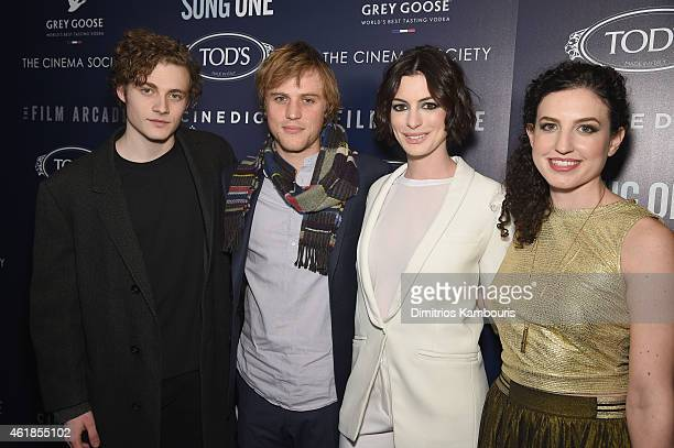 Actors Ben Rosenfield Johnny Flynn Anne Hathaway pose for a photo with director Kate BarkerFroyland at the premiere of the Film Arcade Cinedigm's...
