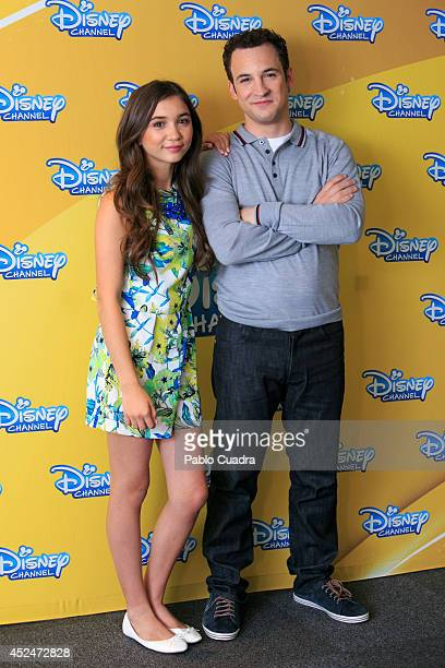 Actors Ben Savage and Rowan Blanchard attend 'Riley Y El Mundo' photocall at the Hotel ME on July 21 2014 in Madrid Spain