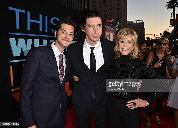 Actors Ben Schwartz Adam Driver and Jane Fonda arrive at the premiere of Warner Bros Pictures' 'This Is Where I Leave You' at TCL Chinese Theatre on...