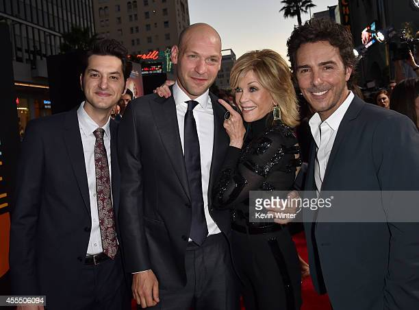 Actors Ben Schwartz Corey Stoll Jane Fonda and director/producer Shawn Levy arrive at the premiere of Warner Bros Pictures' 'This Is Where I Leave...