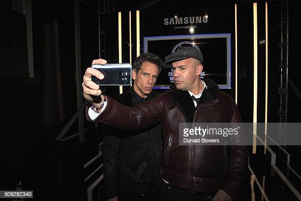 Actors Ben Stiller and Billy Zane show their support for the Derek Zoolander Foundation with a Samsung Galaxy S6 edge selfie at the premiere of...