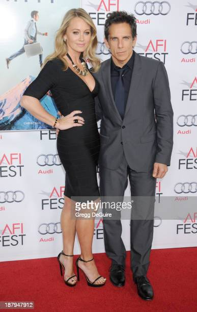 Actors Ben Stiller and Christine Taylor arrive at AFI FEST 2013 'The Secret Life Of Walter Mitty' premiere at TCL Chinese Theatre on November 13 2013...