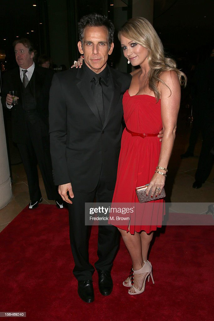 Actors <a gi-track='captionPersonalityLinkClicked' href=/galleries/search?phrase=Ben+Stiller&family=editorial&specificpeople=201806 ng-click='$event.stopPropagation()'>Ben Stiller</a> and <a gi-track='captionPersonalityLinkClicked' href=/galleries/search?phrase=Christine+Taylor&family=editorial&specificpeople=201985 ng-click='$event.stopPropagation()'>Christine Taylor</a> attend the 26th American Cinematheque Award Gala honoring <a gi-track='captionPersonalityLinkClicked' href=/galleries/search?phrase=Ben+Stiller&family=editorial&specificpeople=201806 ng-click='$event.stopPropagation()'>Ben Stiller</a> at The Beverly Hilton Hotel on November 15, 2012 in Beverly Hills, California.