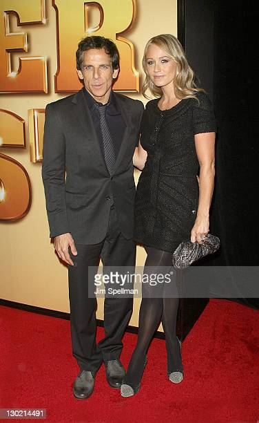Actors Ben Stiller and Christine Taylor attend the world premiere of 'Tower Heist' at the Ziegfeld Theatre on October 24 2011 in New York City