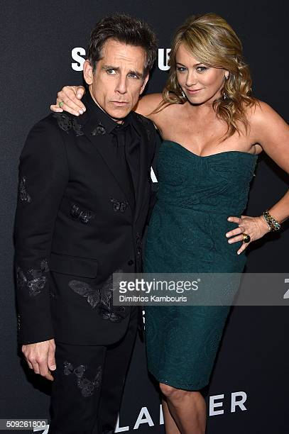 Actors Ben Stiller and Christine Taylor attend the 'Zoolander 2' World Premiere at Alice Tully Hall on February 9 2016 in New York City