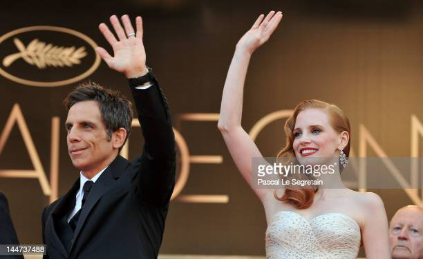 Actors Ben Stiller and Jessica Chastain attend the 'Madagascar 3 Europe's Most Wanted' Premiere during the 65th Annual Cannes Film Festival at Palais...