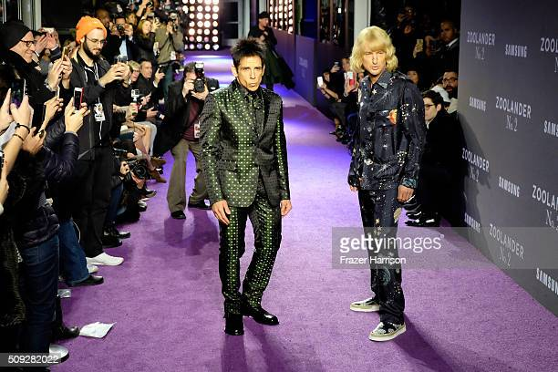 Actors Ben Stiller and Owen Wilson walk the runway during the 'Zoolander No 2' World Premiere at Alice Tully Hall on February 9 2016 in New York City