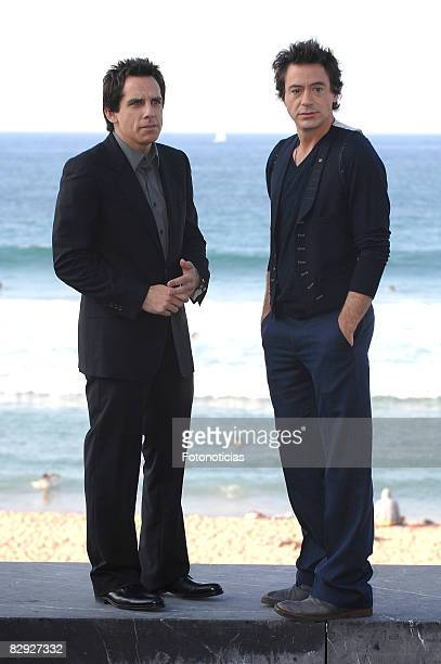 Actors Ben Stiller and Robert Downey Jr attend the photocall for 'Tropic Thunder' at The Kursaal Palace during the 56th San Sebastian Film Festival...