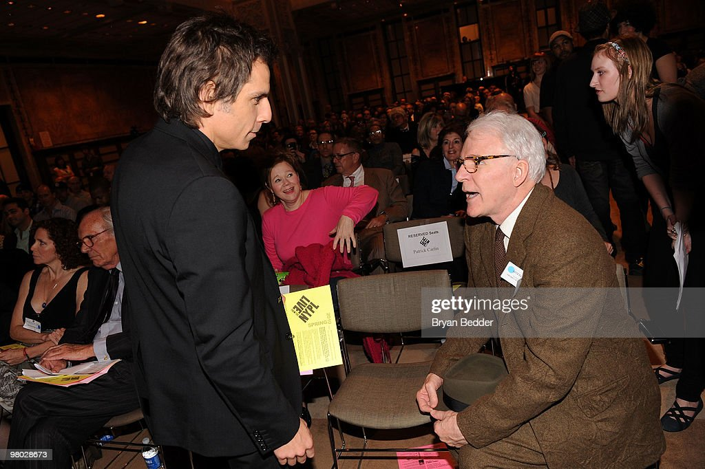 Actors Ben Stiller and Steve Martin attend the George Carlin Tribute hosted by Whoopi Goldberg at the New York Public Library - Celeste Bartos Forum on March 24, 2010 in New York City.