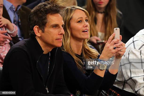 Actors Ben Stiller and wife Christine Taylor attend the 2015 NBA AllStar Game at Madison Square Garden on February 15 2015 in New York City NOTE TO...