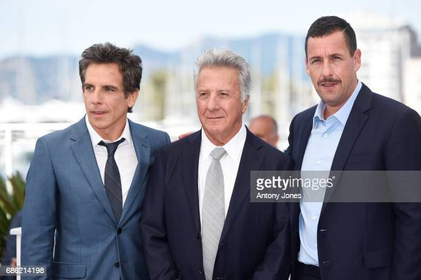 R Actors Ben Stiller Dustin Hoffman and Adam Sandler attend 'The Meyerowitz Stories' photocall during the 70th annual Cannes Film Festival at Palais...