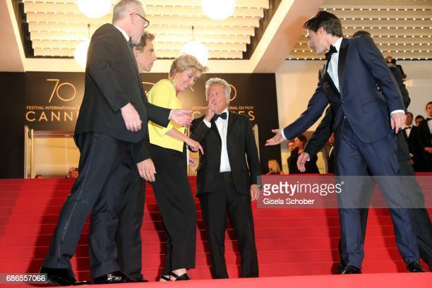 Actors Ben Stiller Dustin Hoffman and Emma Thompson depart the 'The Meyerowitz Stories' screening during the 70th annual Cannes Film Festival at...