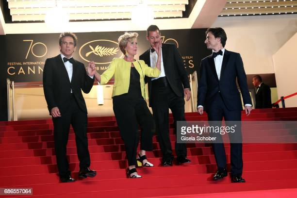 Actors Ben Stiller Emma Thompson Adam Sandler and Noah Baumbach depart the 'The Meyerowitz Stories' screening during the 70th annual Cannes Film...
