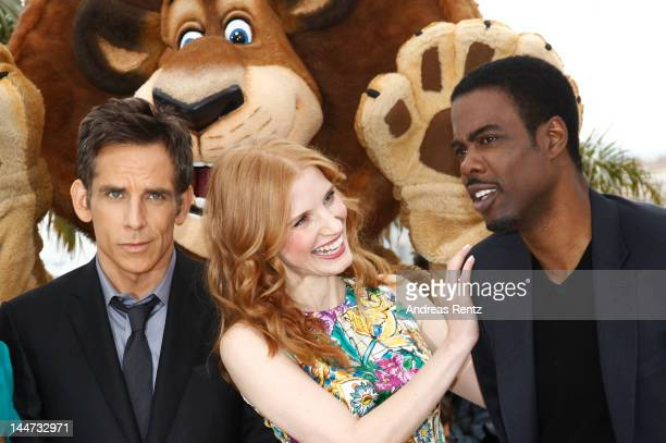 Actors Ben Stiller Jessica Chastain and Chris Rock attend the 'Madagascar 3' photocall during the 65th Annual Cannes Film Festival on May 17 2012 in...