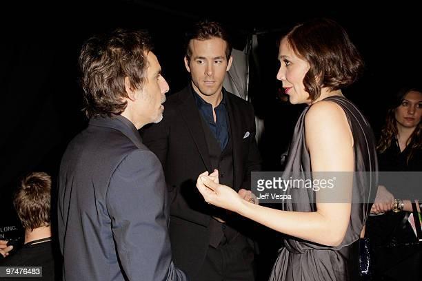 COVERAGE** Actors Ben Stiller Ryan Reynolds and Maggie Gyllenhaal backstage at the 25th Film Independent Spirit Awards held at Nokia Theatre LA Live...