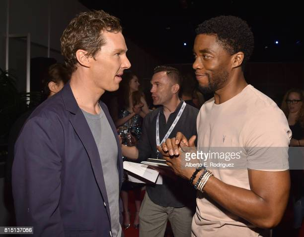 Actors Benedict Cumberbatch and Chadwick Boseman of AVENGERS INFINITY WAR took part today in the Walt Disney Studios live action presentation at...