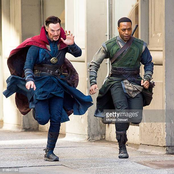 Actors Benedict Cumberbatch and Chiwetel Ejiofor are seen filming 'Doctor Strange' on April 3 2016 in New York City