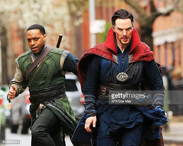 Actors Benedict Cumberbatch and Chiwetel Ejiofor are seen on the set of 'Doctor Strange' on April 2 2016 in New York City