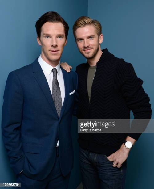 Actors Benedict Cumberbatch and Dan Stevens of 'The Fifth Estate' pose at the Guess Portrait Studio during 2013 Toronto International Film Festival...