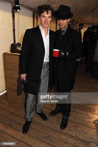 Actors Benedict Cumberbatch and Dominic Cooper attend the 'BALLY Celebrates 60 Years of Conquering Everest' at Bedford Square Gardens on January 7...
