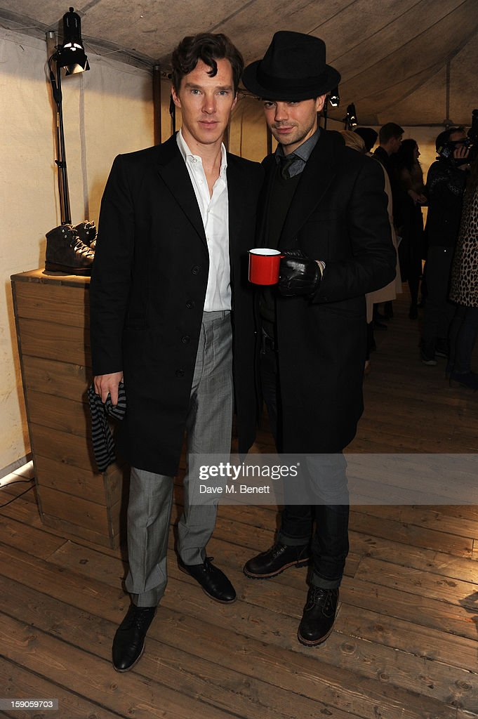 Actors Benedict Cumberbatch and Dominic Cooper attend the 'BALLY Celebrates 60 Years of Conquering Everest' at Bedford Square Gardens on January 7, 2013 in London, England.