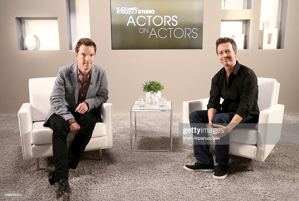 Actors Benedict Cumberbatch (L) and Edward Norton attend day one of Variety Studio: Actors On Actors presented by Samsung Galaxy on November 8, 2014 in Los Angeles, California.