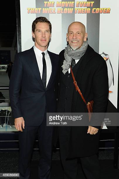 Actors Benedict Cumberbatch and John Malkovich attend 'Penguins Of Madagascar' New York premiere at Winter Village at Bryant Park Ice Rink on...