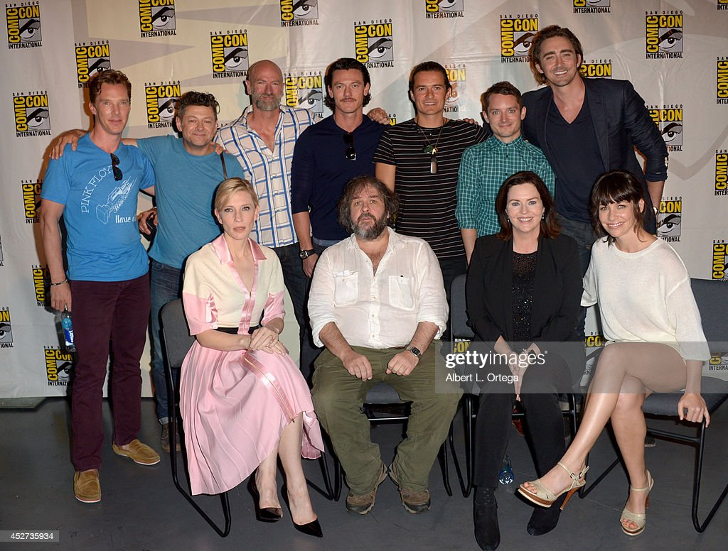 Actors <a gi-track='captionPersonalityLinkClicked' href=/galleries/search?phrase=Benedict+Cumberbatch&family=editorial&specificpeople=2487879 ng-click='$event.stopPropagation()'>Benedict Cumberbatch</a>, <a gi-track='captionPersonalityLinkClicked' href=/galleries/search?phrase=Andy+Serkis&family=editorial&specificpeople=210893 ng-click='$event.stopPropagation()'>Andy Serkis</a>, <a gi-track='captionPersonalityLinkClicked' href=/galleries/search?phrase=Graham+McTavish&family=editorial&specificpeople=4509837 ng-click='$event.stopPropagation()'>Graham McTavish</a>, Luke Evans, <a gi-track='captionPersonalityLinkClicked' href=/galleries/search?phrase=Orlando+Bloom&family=editorial&specificpeople=202520 ng-click='$event.stopPropagation()'>Orlando Bloom</a>, <a gi-track='captionPersonalityLinkClicked' href=/galleries/search?phrase=Elijah+Wood&family=editorial&specificpeople=171364 ng-click='$event.stopPropagation()'>Elijah Wood</a>, and <a gi-track='captionPersonalityLinkClicked' href=/galleries/search?phrase=Lee+Pace&family=editorial&specificpeople=228993 ng-click='$event.stopPropagation()'>Lee Pace</a>; (bottom row) Actress <a gi-track='captionPersonalityLinkClicked' href=/galleries/search?phrase=Cate+Blanchett&family=editorial&specificpeople=201621 ng-click='$event.stopPropagation()'>Cate Blanchett</a>, director <a gi-track='captionPersonalityLinkClicked' href=/galleries/search?phrase=Peter+Jackson+-+Filmmaker&family=editorial&specificpeople=203018 ng-click='$event.stopPropagation()'>Peter Jackson</a>, screenwriter Philippa Boyens, and actress <a gi-track='captionPersonalityLinkClicked' href=/galleries/search?phrase=Evangeline+Lilly&family=editorial&specificpeople=228168 ng-click='$event.stopPropagation()'>Evangeline Lilly</a> attend the Legendary Pictures preview and panel during Comic-Con International 2014 at San Diego Convention Center on July 26, 2014 in San Diego, California.