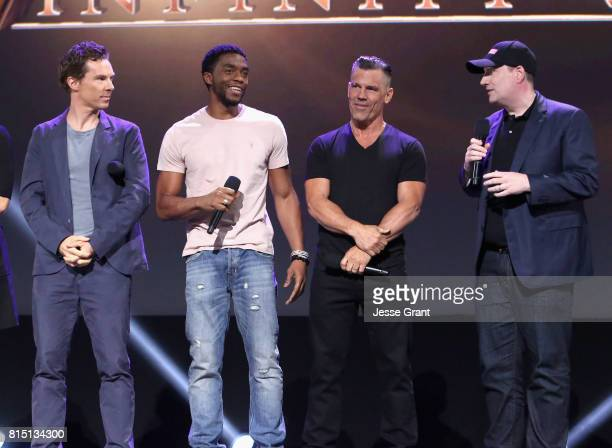 Actors Benedict Cumberbatch Chadwick Boseman and Josh Brolin and producer Kevin Feige of AVENGERS INFINITY WAR took part today in the Walt Disney...