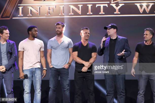 Actors Benedict Cumberbatch Chadwick Boseman Chris Hemsworth and Josh Brolin producer Kevin Feige and actor Mark Ruffalo of AVENGERS INFINITY WAR...