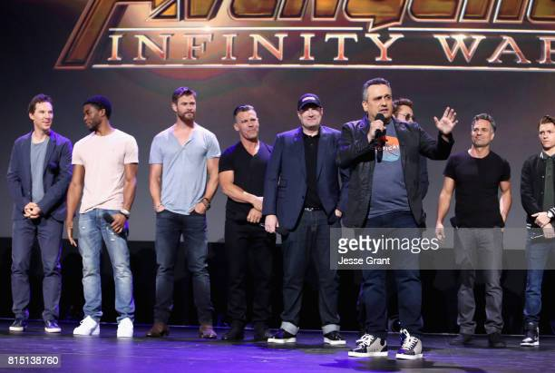 Actors Benedict Cumberbatch Chadwick Boseman Chris Hemsworth and Josh Brolin producer Kevin Feige and director Joe Russo and actors Robert Downey Jr...