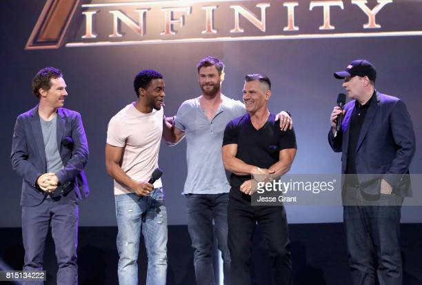 Actors Benedict Cumberbatch Chadwick Boseman Chris Hemsworth Josh Brolin and producer Kevin Feige of AVENGERS INFINITY WAR took part today in the...