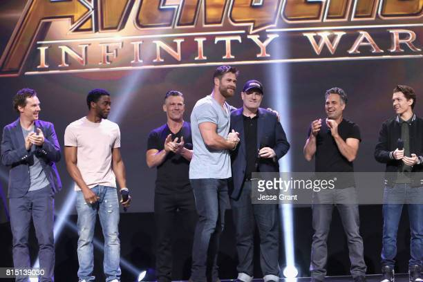 Actors Benedict Cumberbatch Chadwick Boseman Josh Brolin and Chris Hemsworth producer Kevin Feige and actors Mark Ruffalo and Tom Holland of AVENGERS...
