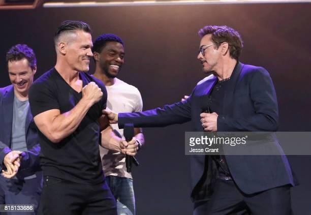Actors Benedict Cumberbatch Josh Brolin Chadwick Boseman and Robert Downey Jr of AVENGERS INFINITY WAR took part today in the Walt Disney Studios...