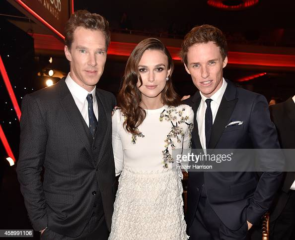 Actors Benedict Cumberbatch Keira Knightley and Eddie Redmayne attend the 18th Annual Hollywood Film Awards at The Palladium on November 14 2014 in...