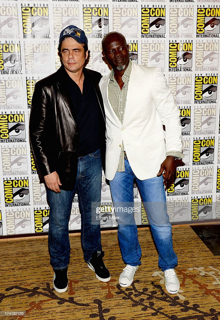Actors Benicio Del Toro (L) and Djimon Hounsou attend Marvel's 'Guardians of The Galaxy' press line during Comic-Con International 2013 at the Hilton San Diego Bayfront Hotel on July 20, 2013 in San Diego, California.
