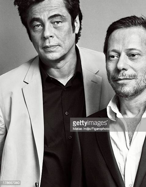 107274005 Actors Benicio Del Toro Mathieu Amalric are photographed for Madame Figaro on July 24 2013 in Paris France Amalric's suit PUBLISHED IMAGE...