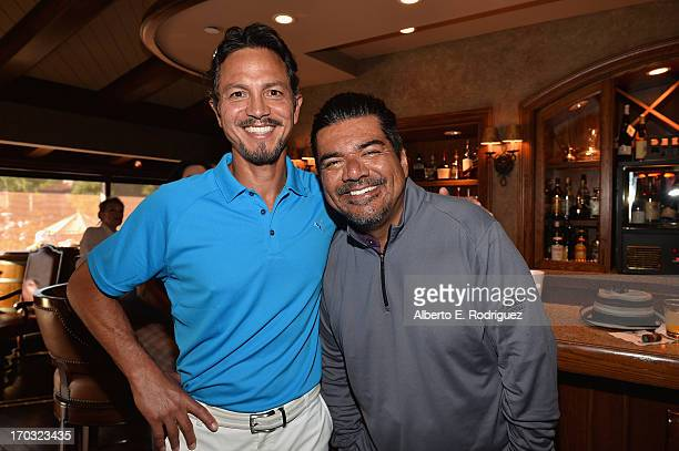 Actors Benjamin Bratt and George Lopez attend the Screen Actors Guild Foundation 4th Annual Los Angeles Golf Classic at Lakeside Golf Club on June 10...