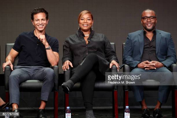 Actors Benjamin Bratt and Queen Latifah and CoCreator/CoWriter/Executive Producer Lee Daniels of 'Star' speak onstage during the FOX portion of the...