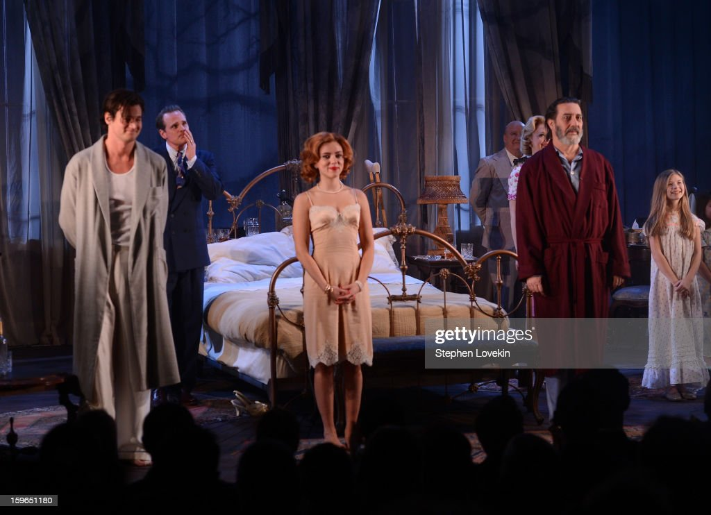 Actors Benjamin Walker, Scarlett Johansson, and Ciaran Hinds attend the curtain call for the 'Cat On A Hot Tin Roof' Opening Night at Richard Rodgers Theatre on January 17, 2013 in New York City.